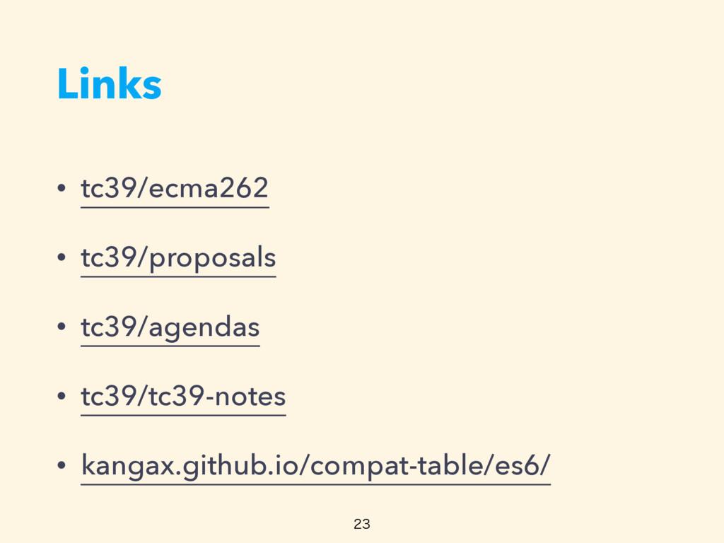 Links • tc39/ecma262 • tc39/proposals • tc39/ag...