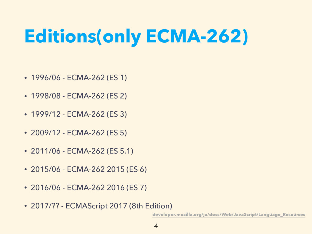 Editions(only ECMA-262)  • 1996/06 - ECMA-262 ...