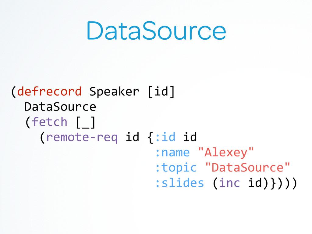 DataSource (defrecord Speaker [id]  ...