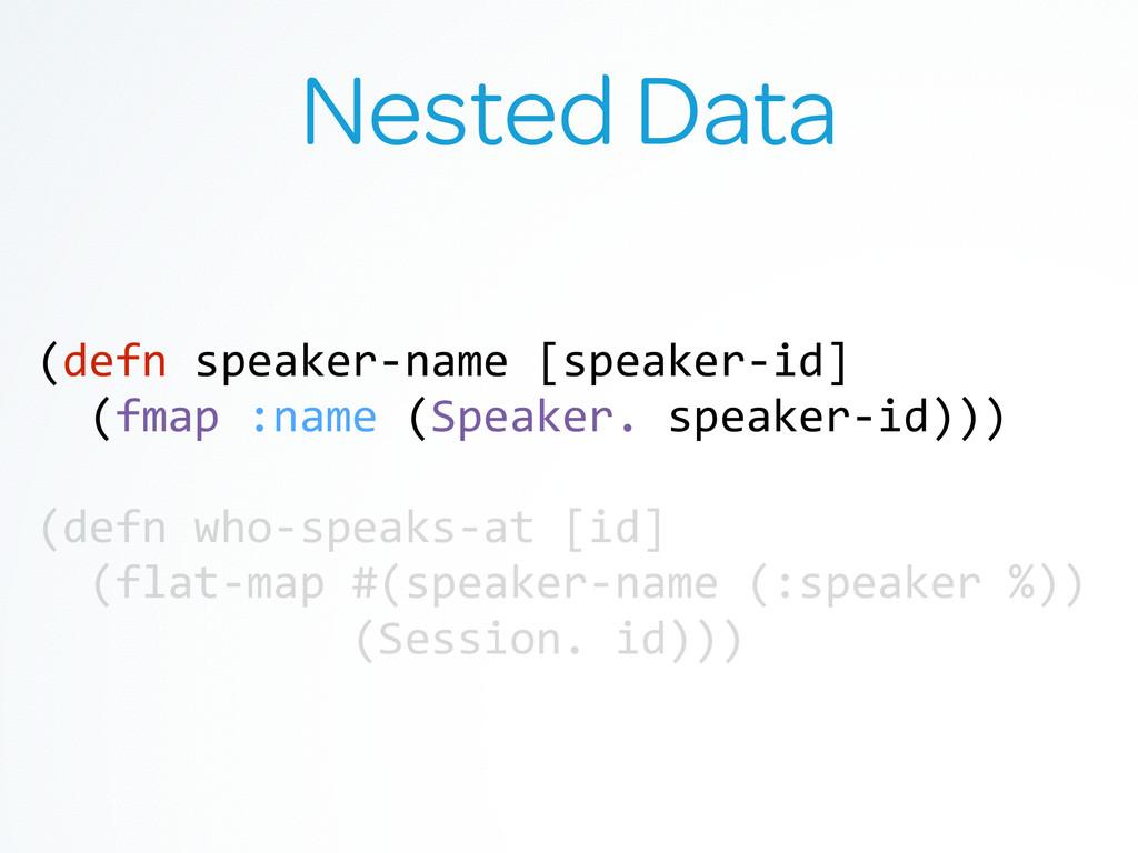 Nested Data (defn speaker-‐name [speaker...