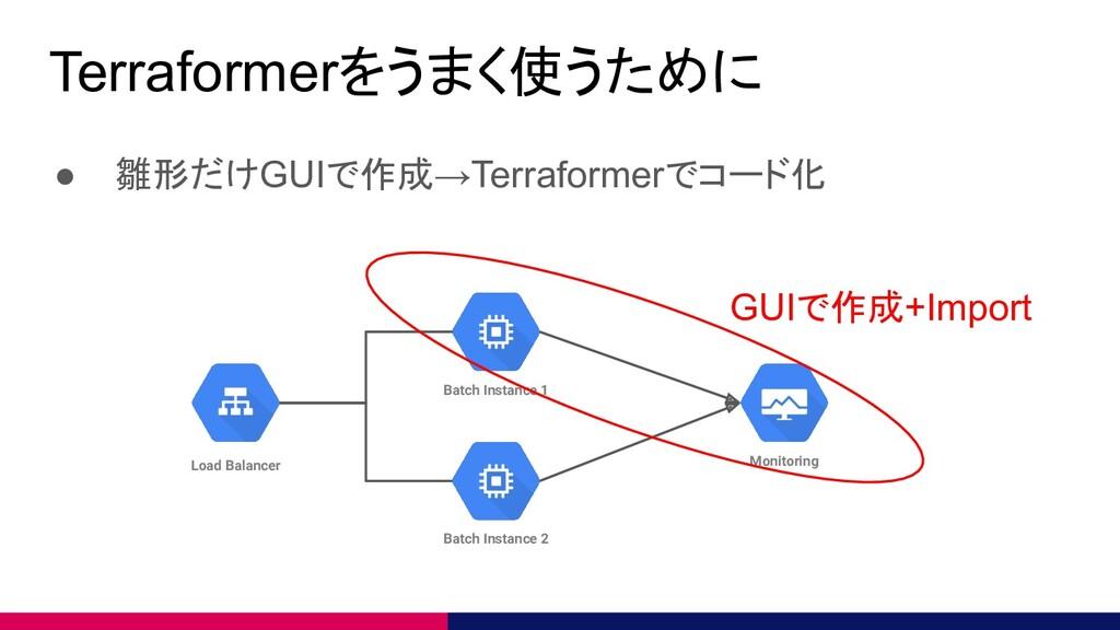Terraformerをうまく使うために ● 雛形だけGUIで作成→Terraformerでコ...