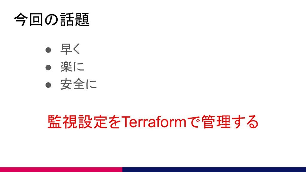 今回の話題 ● 早く ● 楽に ● 安全に 監視設定をTerraformで管理する
