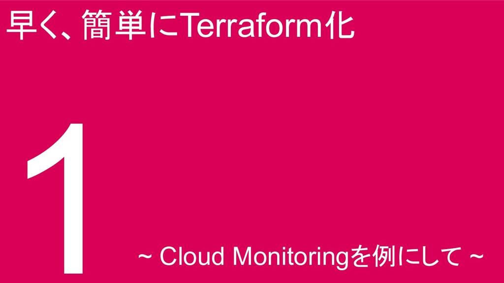 早く、簡単にTerraform化 1 ~ Cloud Monitoringを例にして ~