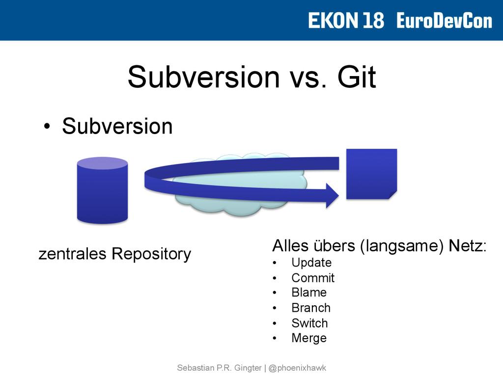 Subversion vs. Git • Subversion Sebastian P.R....