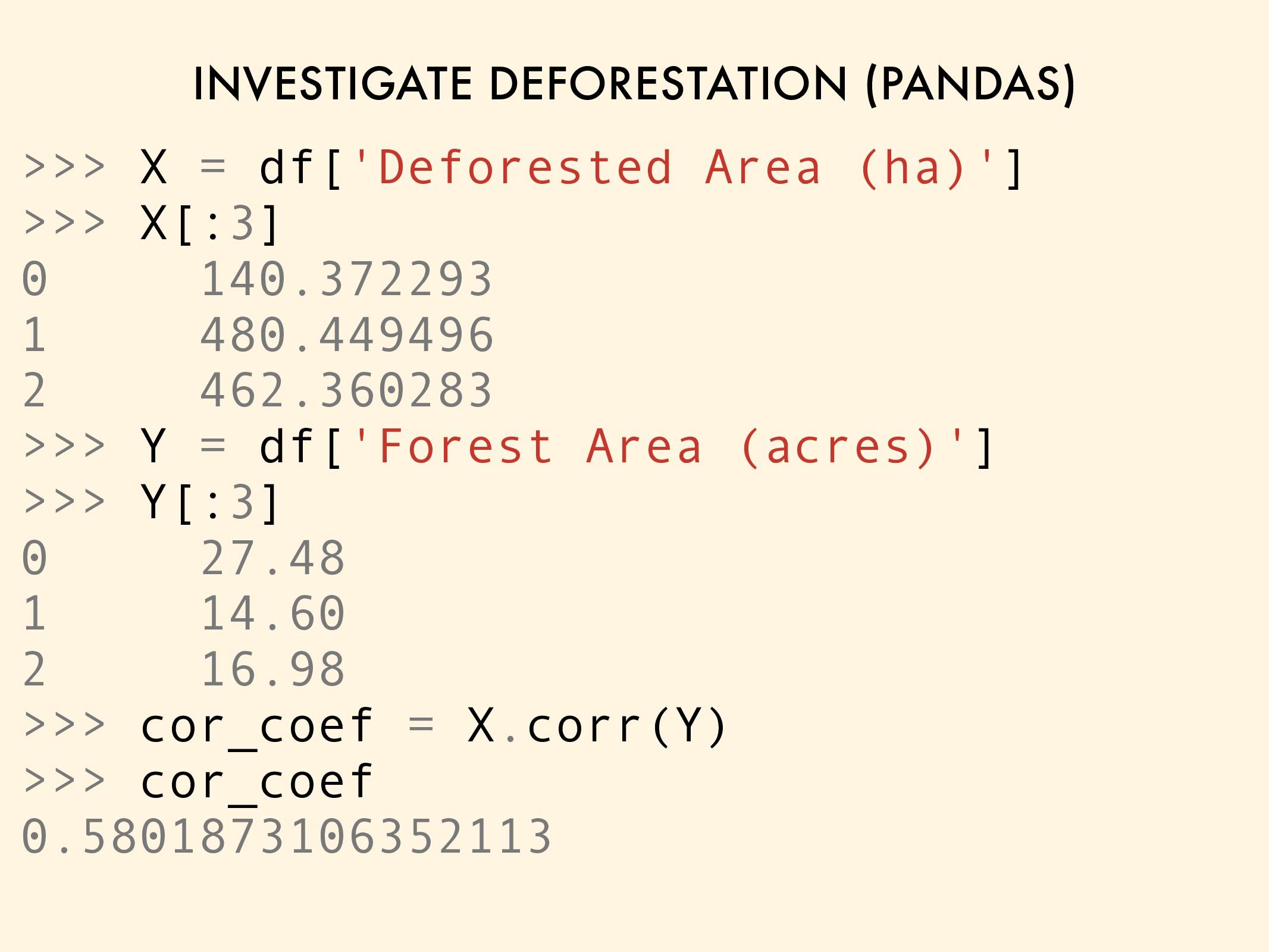 INVESTIGATE DEFORESTATION (PANDAS) >>> X = df['...