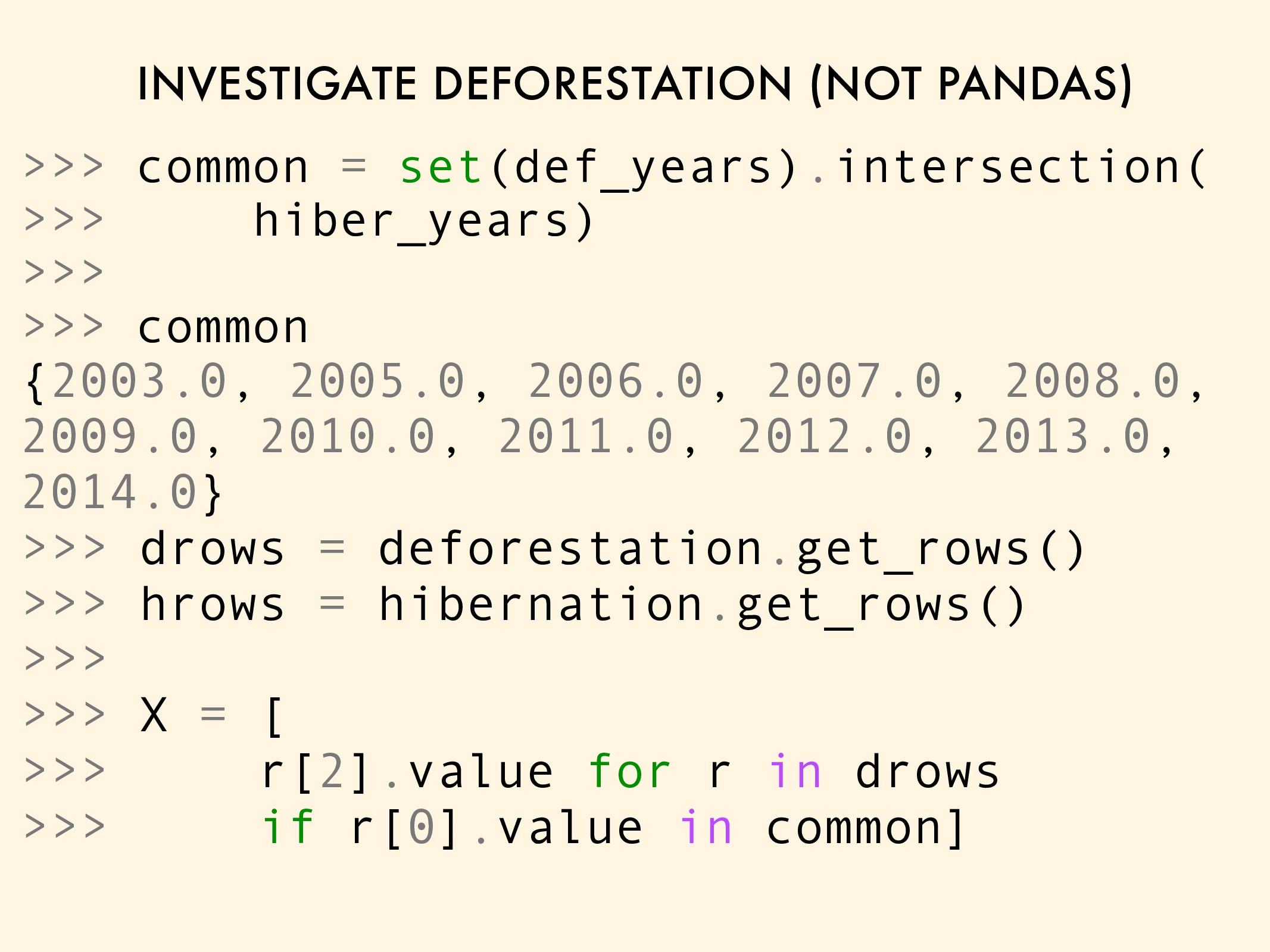 INVESTIGATE DEFORESTATION (NOT PANDAS) >>> comm...