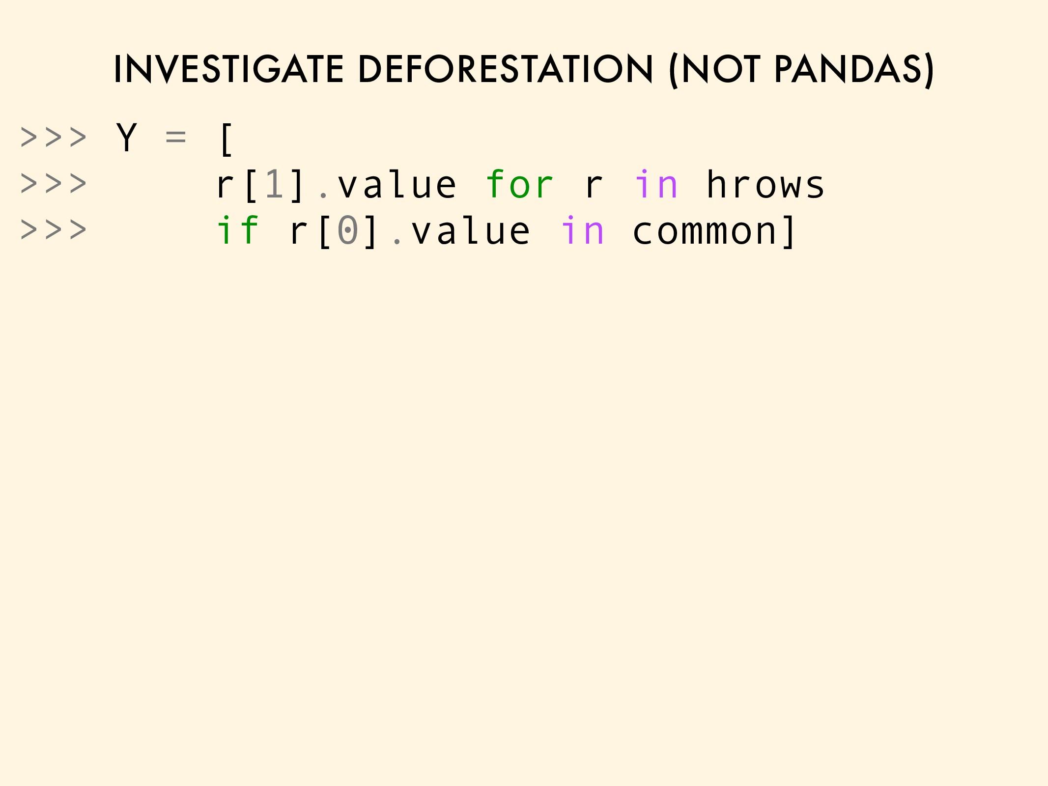 INVESTIGATE DEFORESTATION (NOT PANDAS) >>> Y = ...