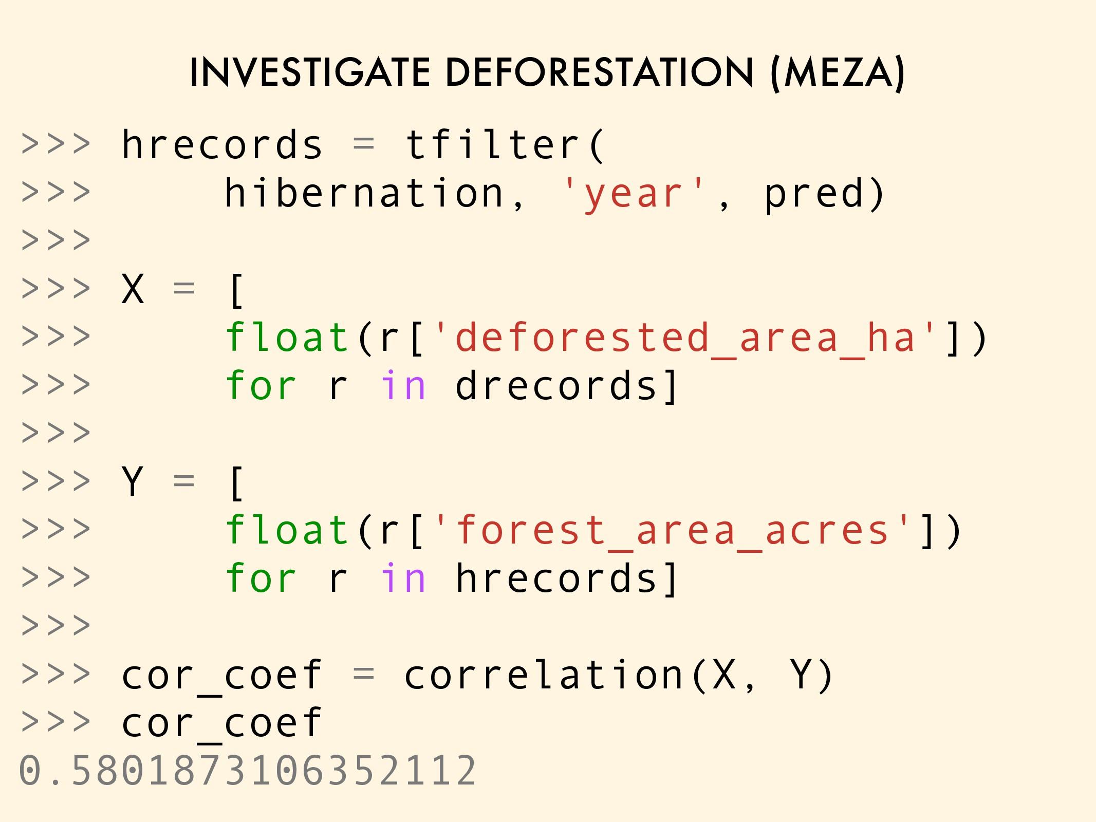 INVESTIGATE DEFORESTATION (MEZA) >>> hrecords =...