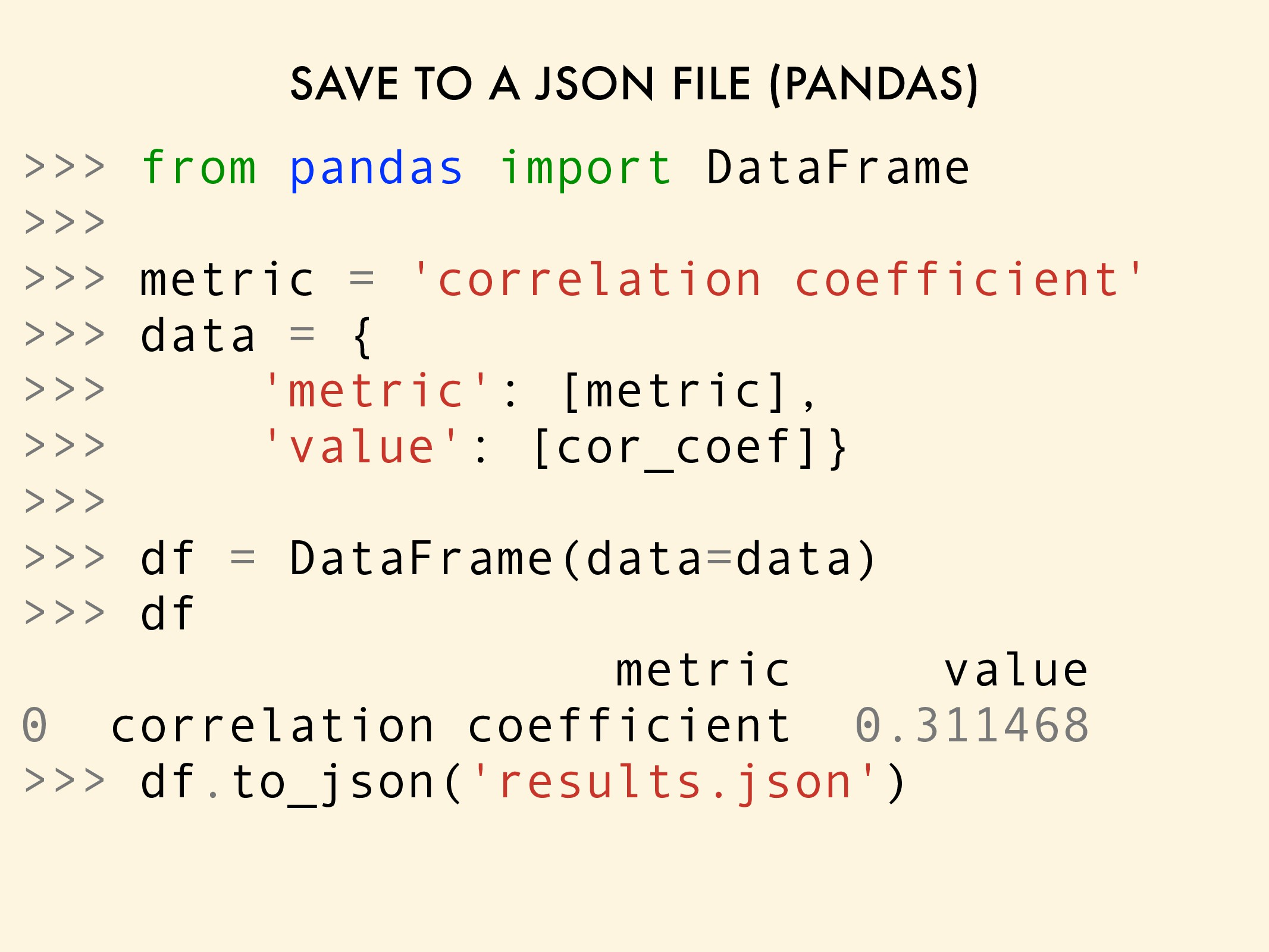 SAVE TO A JSON FILE (PANDAS) >>> from pandas im...
