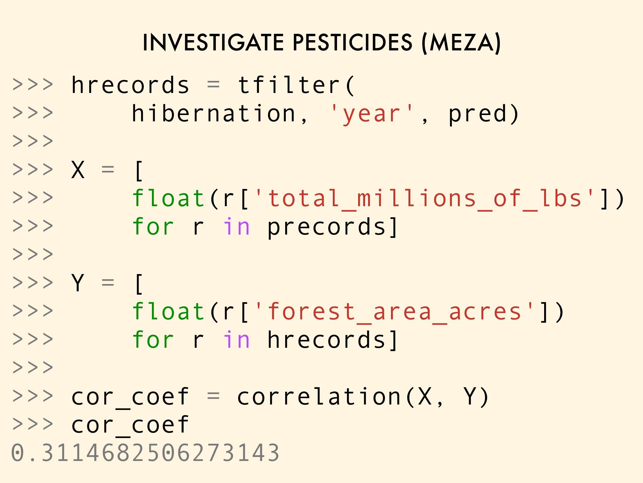 INVESTIGATE PESTICIDES (MEZA) >>> hrecords = tf...