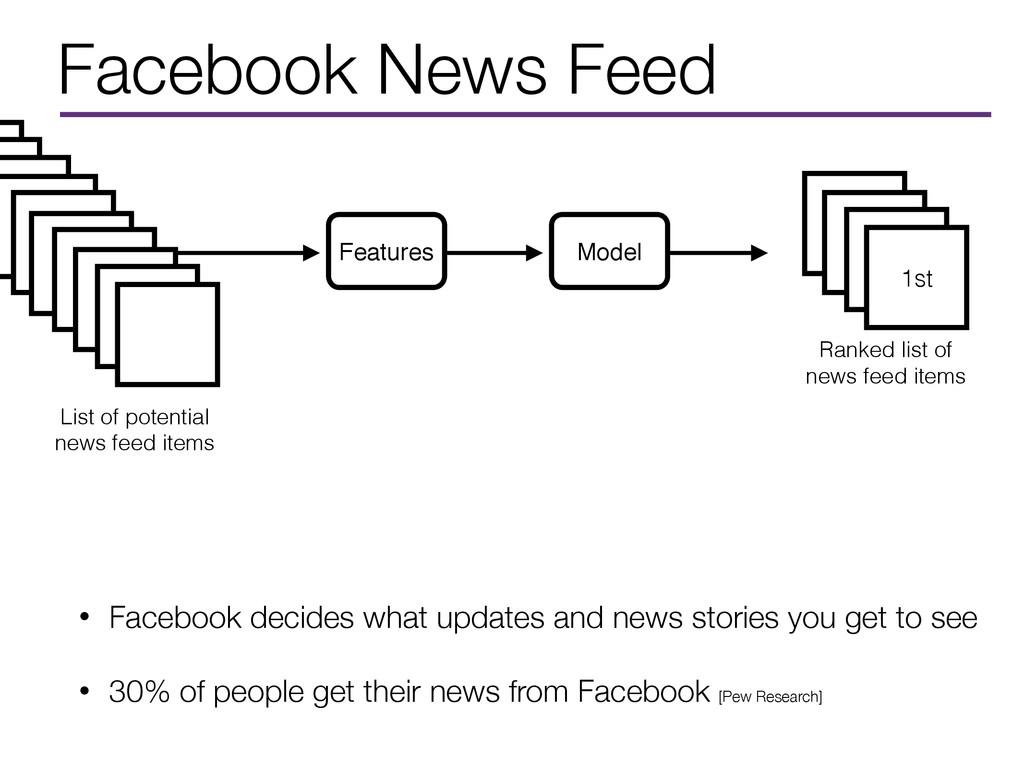 Facebook News Feed • Facebook decides what upda...