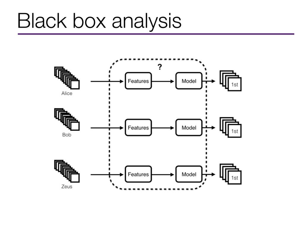 Black box analysis