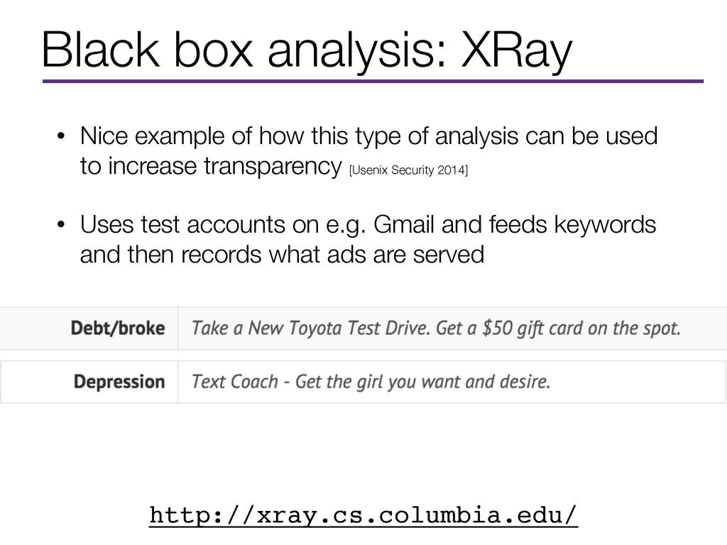 Black box analysis: XRay • Nice example of how ...