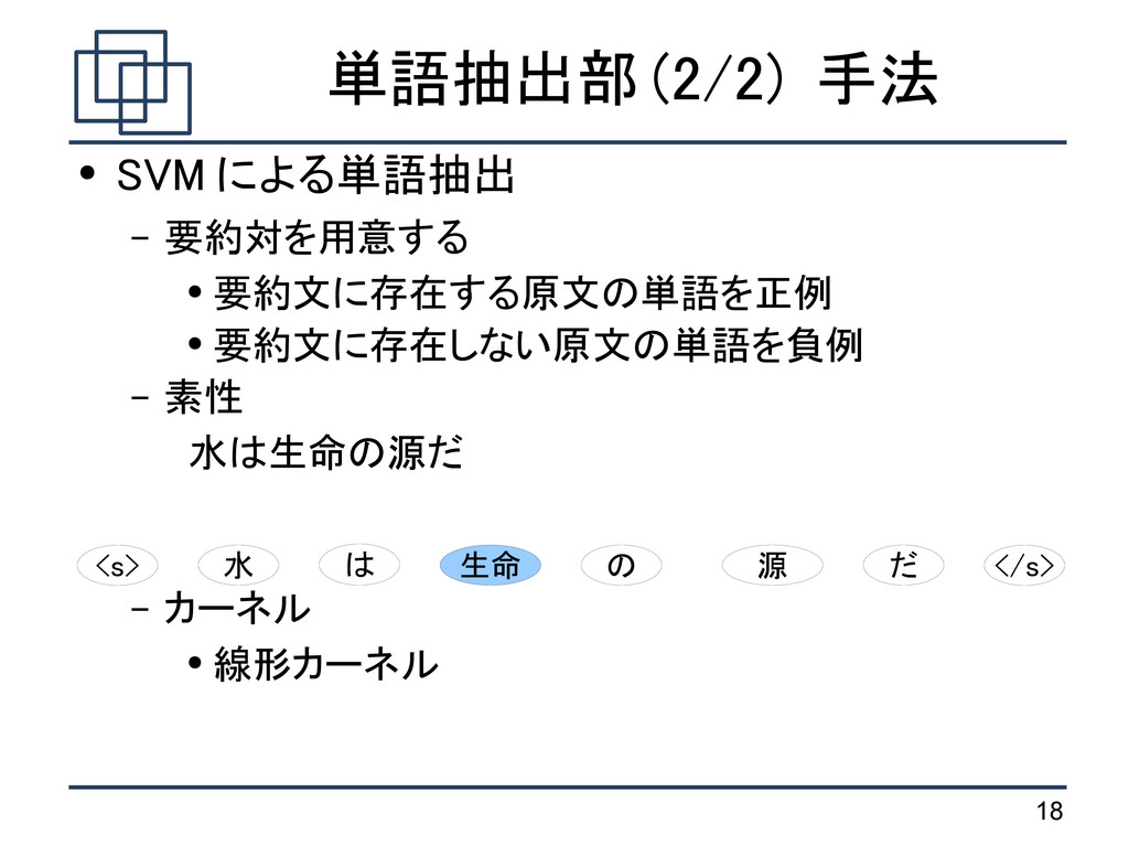 18 単語抽出部 (2/2) 手法 ● SVM による単語抽出 – 要約対を用意する ● 要約...