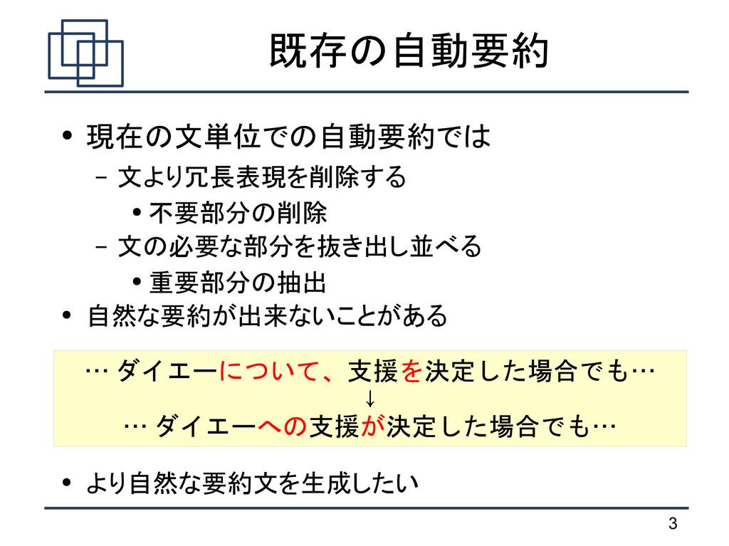 3 既存の自動要約 ● 現在の文単位での自動要約では – 文より冗長表現を削除する ● 不要部...
