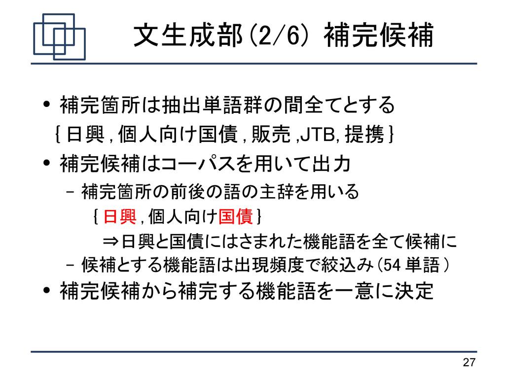 27 文生成部 (2/6) 補完候補 ● 補完箇所は抽出単語群の間全てとする { 日興 , 個...