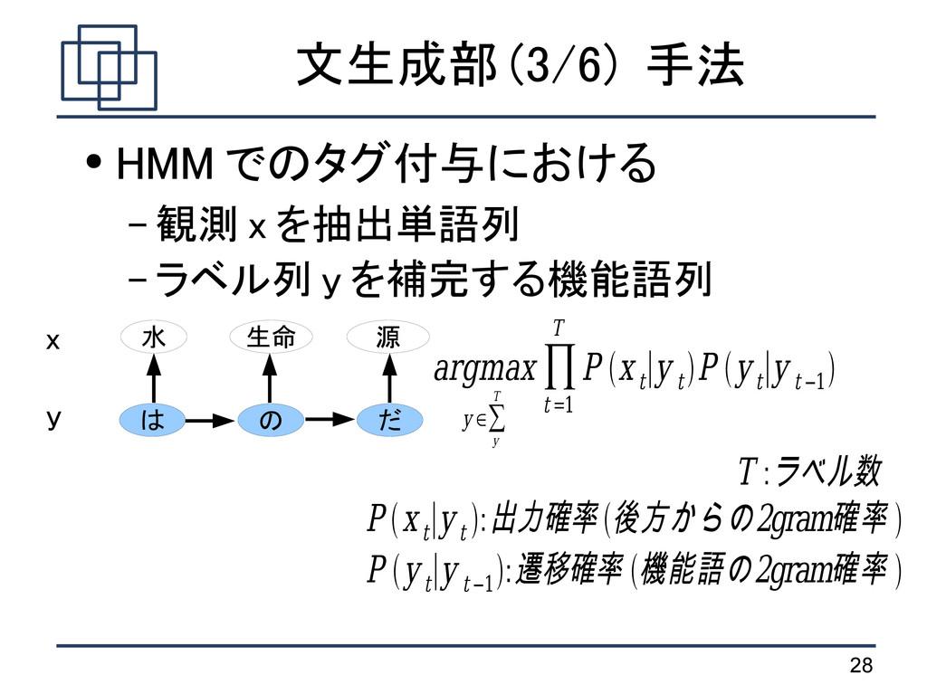 28 文生成部 (3/6) 手法 ● HMM でのタグ付与における – 観測 x を抽出単語列...