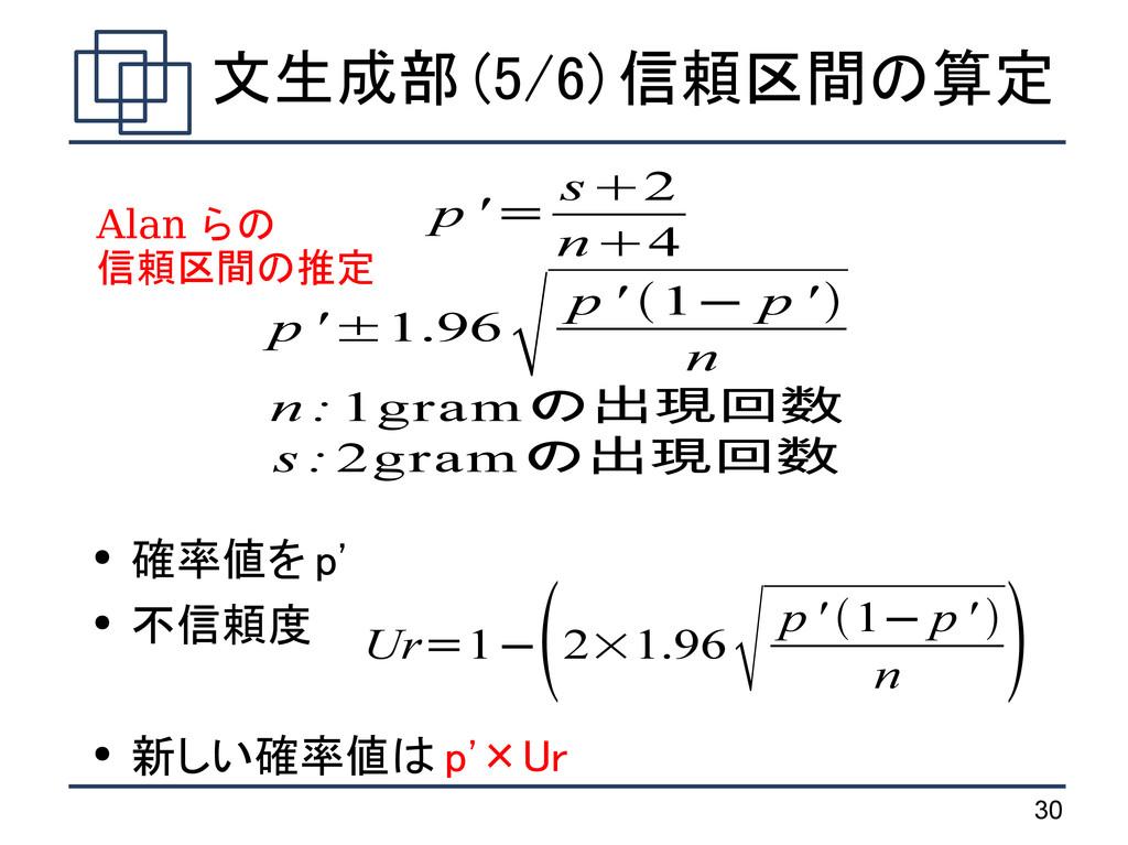 30 文生成部 (5/6) 信頼区間の算定 ● 確率値を p' ● 不信頼度 ● 新しい確率値...
