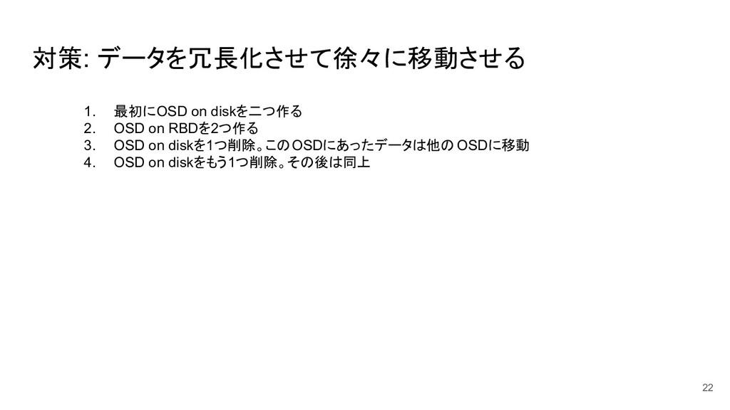 対策: データを冗長化させて徐々に移動させる 22 1. 最初にOSD on diskを二つ作...