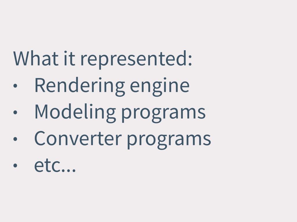 What it represented: • Rendering engine • Model...