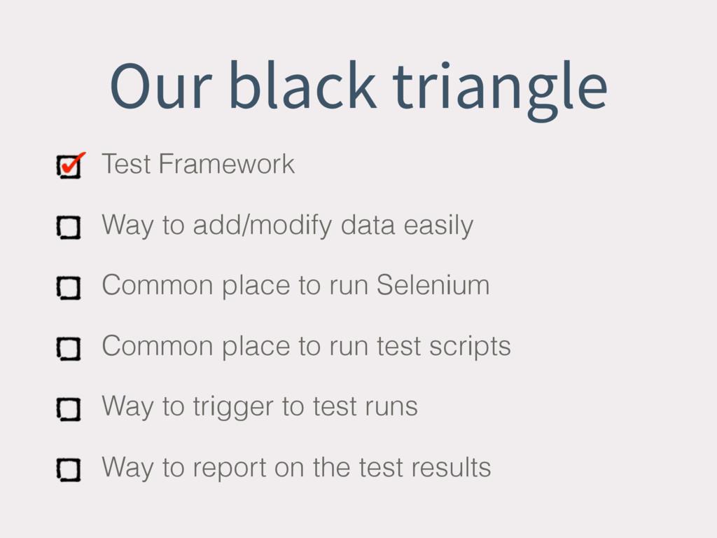 Our black triangle Test Framework Way to add/mo...