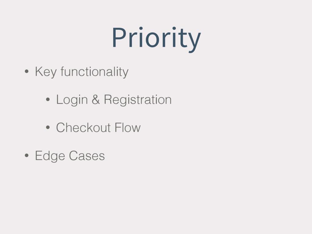 Priority • Key functionality • Login & Registra...