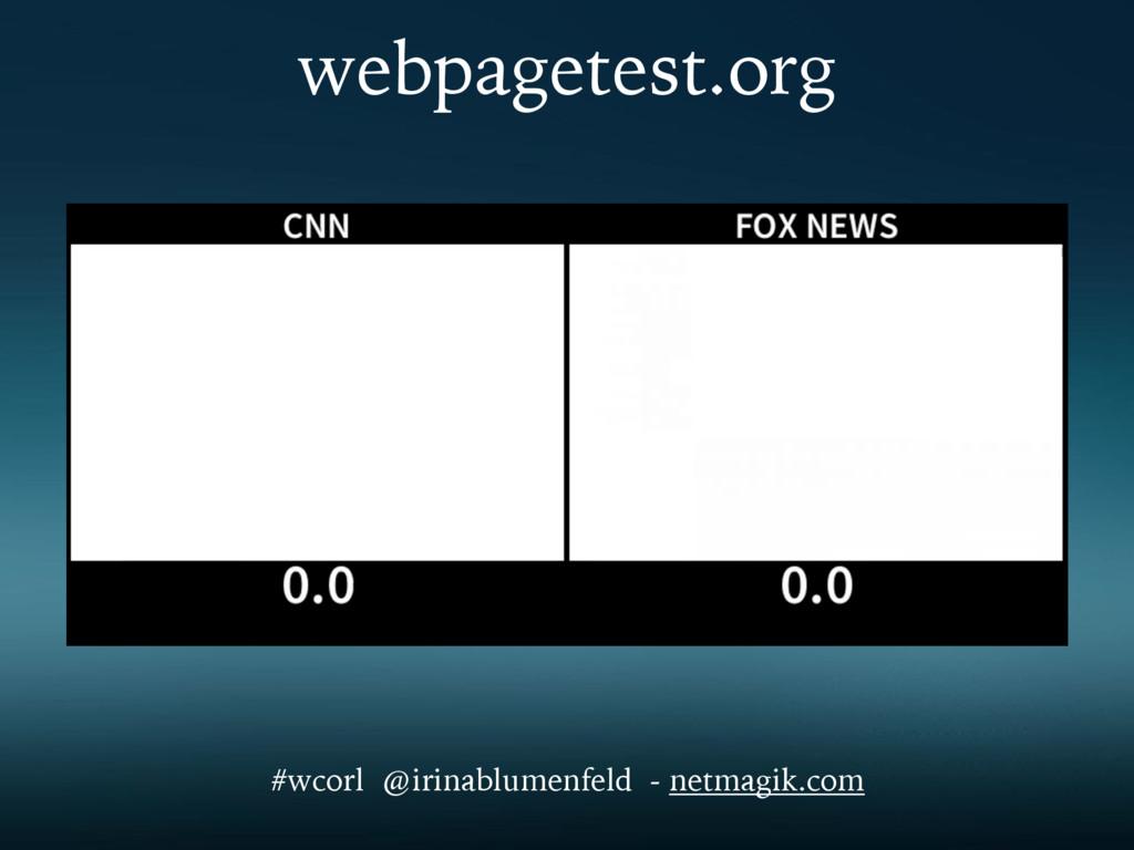webpagetest.org #wcorl @irinablumenfeld - netma...