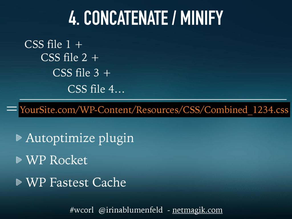 4. CONCATENATE / MINIFY Autoptimize plugin WP R...