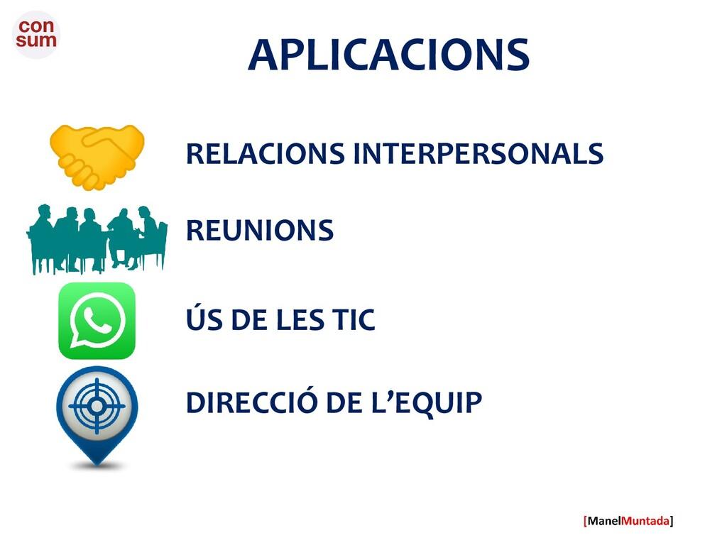 APLICACIONS DIRECCIÓ DE L'EQUIP REUNIONS ÚS DE ...