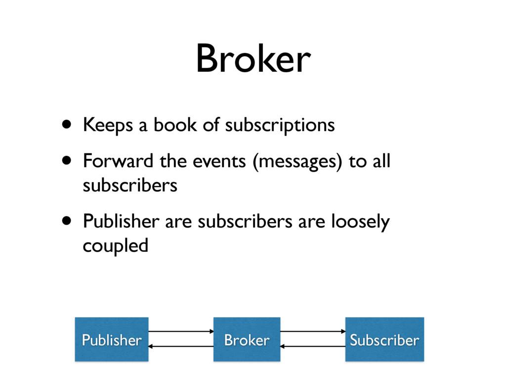 Broker • Keeps a book of subscriptions • Forwar...