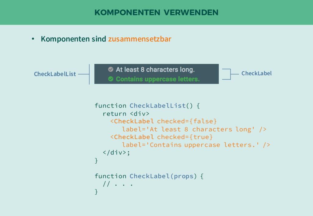 KOMPONENTEN VERWENDEN function CheckLabelList()...