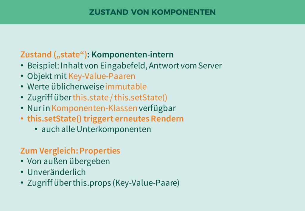 """ZUSTAND VON KOMPONENTEN Zustand (""""state""""): Komp..."""