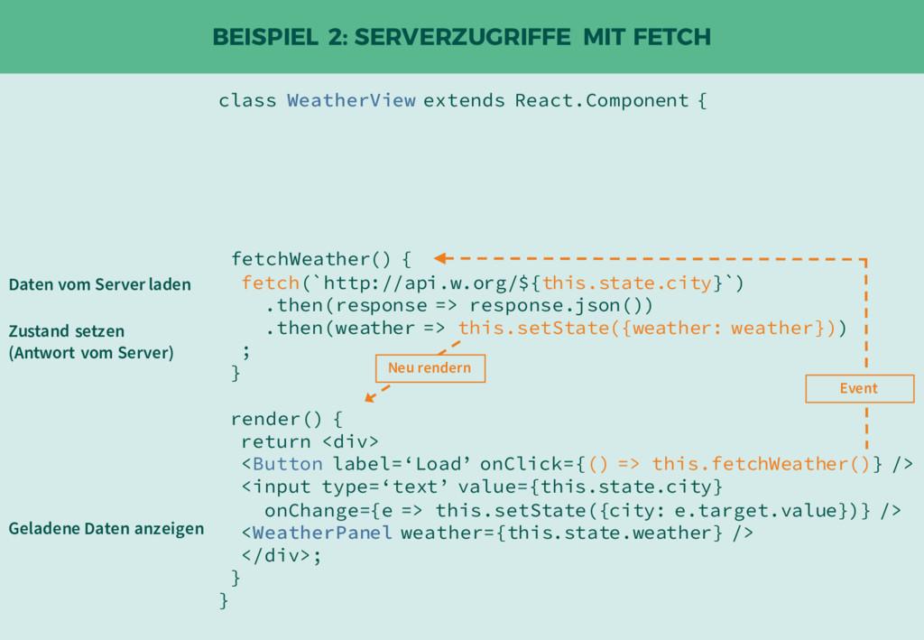 BEISPIEL 2: SERVERZUGRIFFE MIT FETCH class Weat...