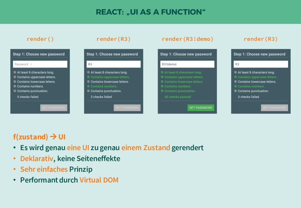 """REACT: """"UI AS A FUNCTION"""" render() render(R3!de..."""