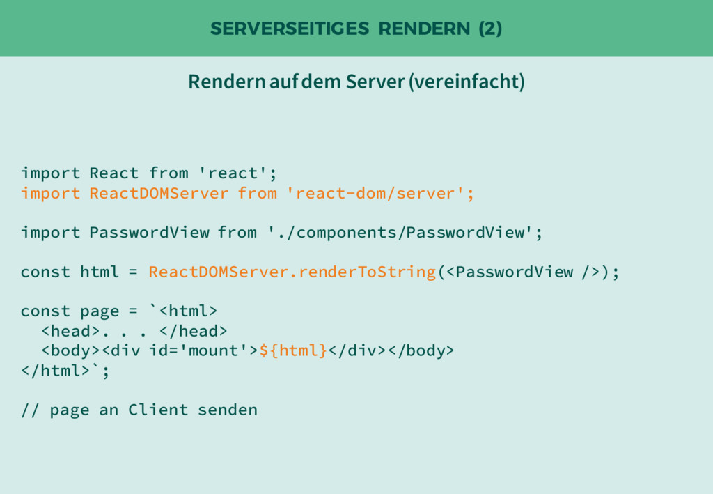 SERVERSEITIGES RENDERN (2) import React from 'r...