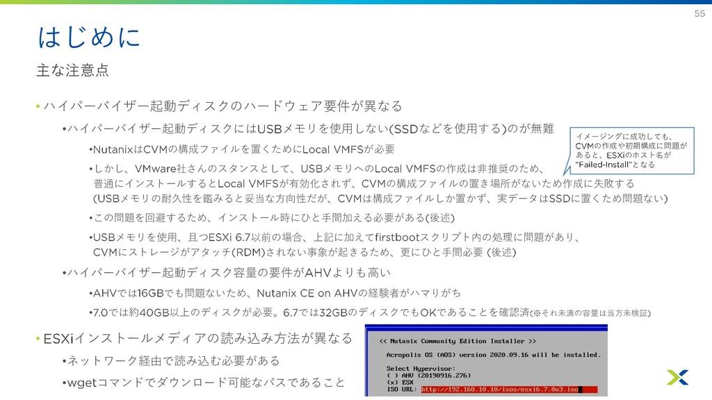 はじめに 主な注意点 • ハイパーバイザー起動ディスクのハードウェア要件が異なる •ハイパーバ...