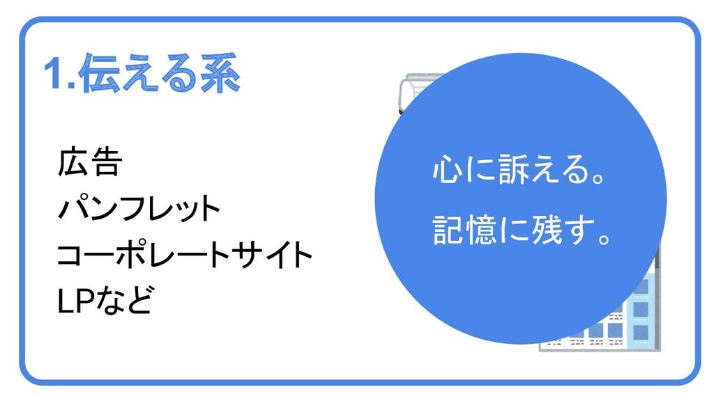 1.伝える系 広告 パンフレット コーポレートサイト LPなど 心に訴える。 記憶に残す。