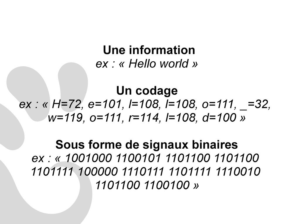 Une information ex : « Hello world » Un codage ...