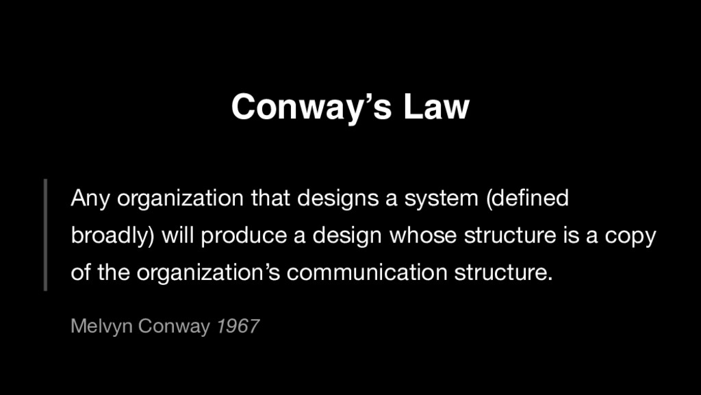 Conway's Law Any organization that designs a sy...
