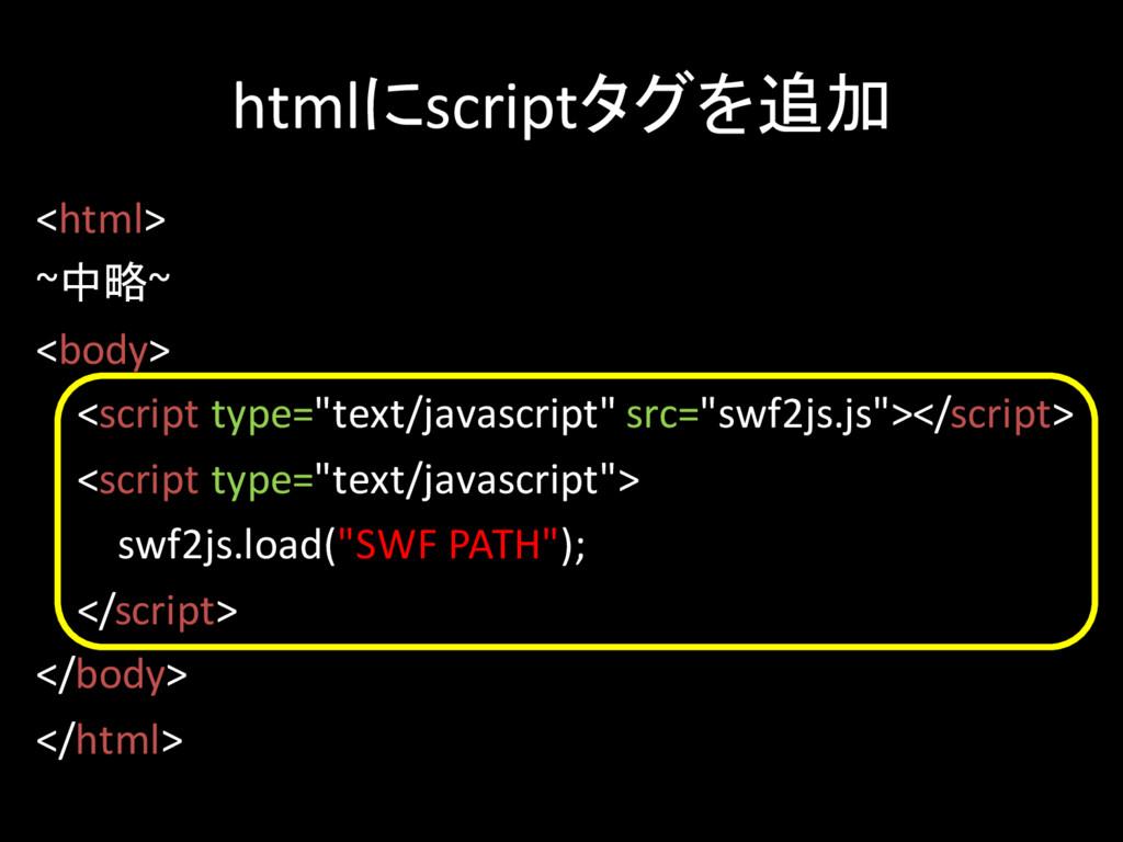 htmlにscriptタグを追加 <html> ~中略~ <body> <script typ...
