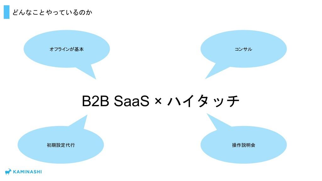 どんなことやっているのか B2B SaaS × ハイタッチ オフラインが基本 初期設定代行 操...