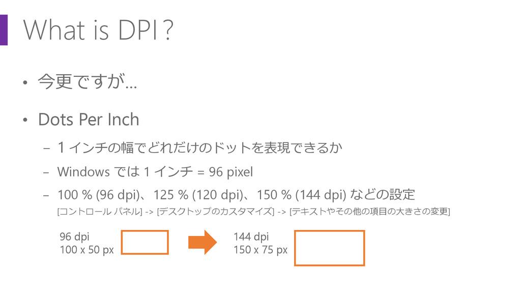 What is DPI? • 今更ですが… • Dots Per Inch − 1 インチの幅...