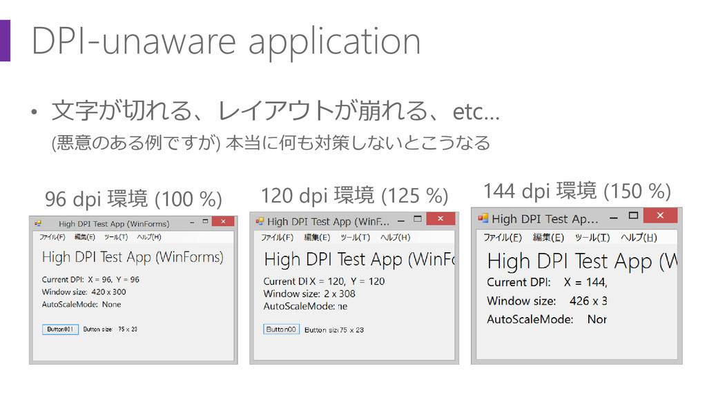 DPI-unaware application • 文字が切れる、レイアウトが崩れる、etc…...