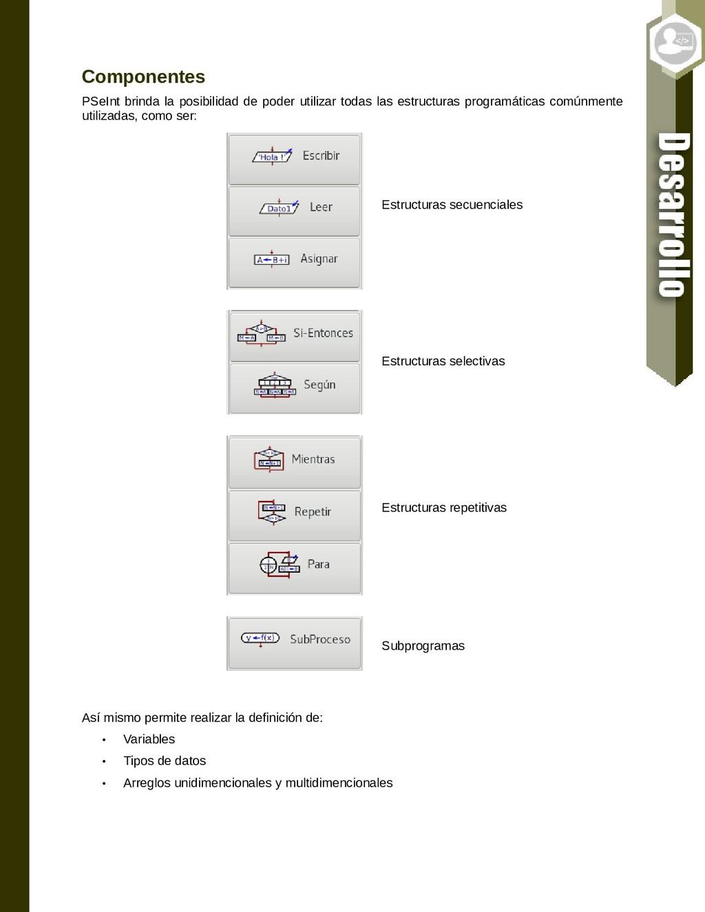 Componentes PSeInt brinda la posibilidad de pod...