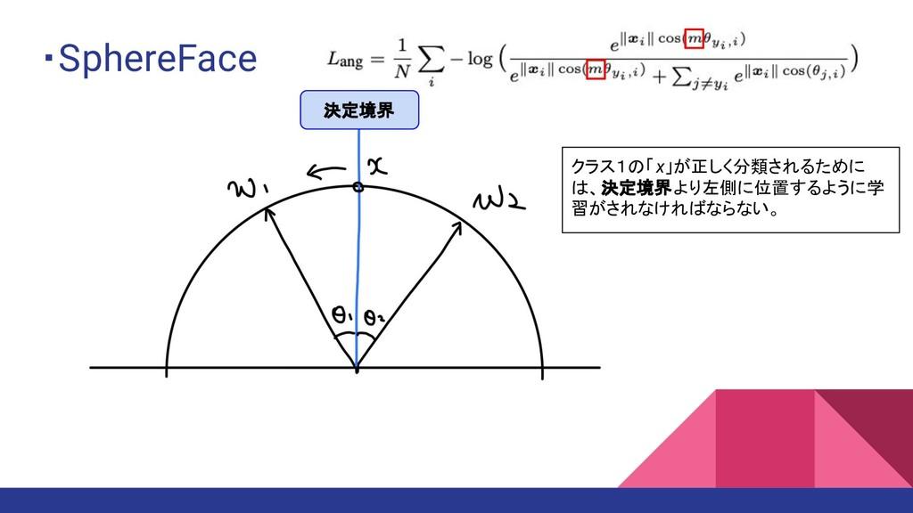 ・SphereFace クラス1の「x」が正しく分類されるために は、決定境界より左側に位置す...