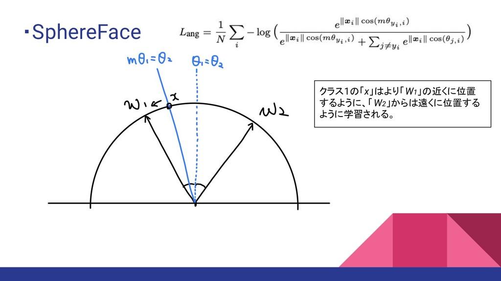 ・SphereFace クラス1の「x」はより「W1」の近くに位置 するように、「W2」からは...