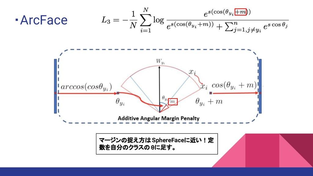 ・ArcFace マージンの捉え方は SphereFaceに近い!定 数を自分のクラスの θに...