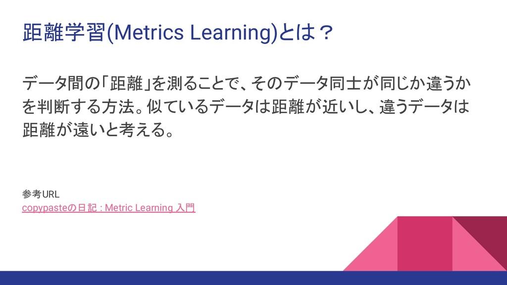 距離学習(Metrics Learning)とは? データ間の「距離」を測ることで、そのデータ...