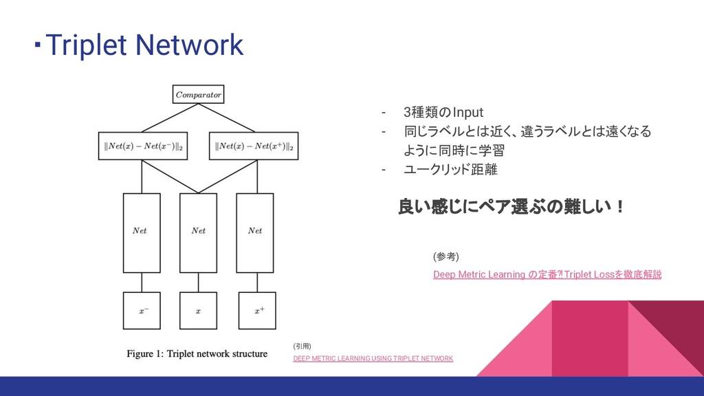 ・Triplet Network - 3種類のInput - 同じラベルとは近く、違うラベルと...