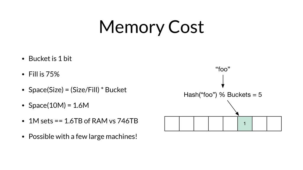 """""""foo"""" Hash(""""foo"""") % Buckets = 5 1 Memory Cost •..."""